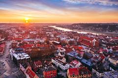 Sunrise | Kaunas old town aerial