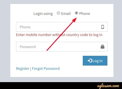 You can make login through your registered mobile number.
