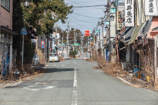 Abandoned shopping street seen at Fukushima exclusion zone