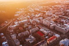 Sunrise | Kaunas down town aerial