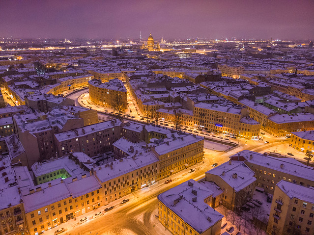 Evening St.Petersburg winter cityscape
