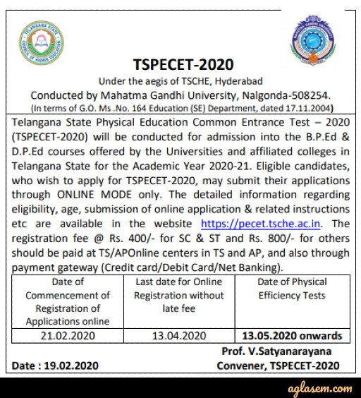 TS PECET 2020 Notification