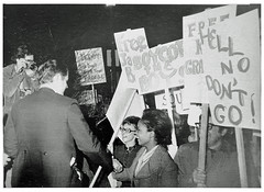 Kennedy crosses women's picket line: 1971