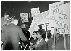Kennedy crosses women's picket line: 1971