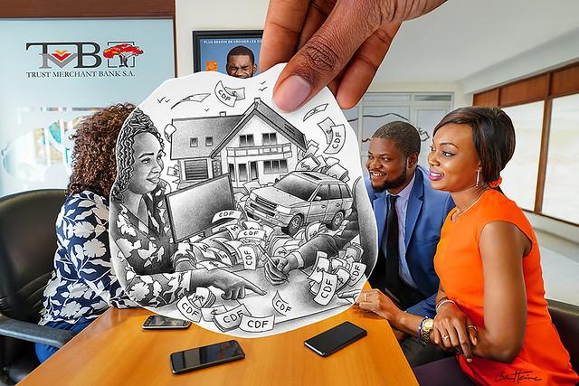 Pencil Vs Camera - Crédit a la Consommation - Trust Merchant Bank - Banque TMB - Kinshasa, Republique Democratique du Congo - Ben Heine Art