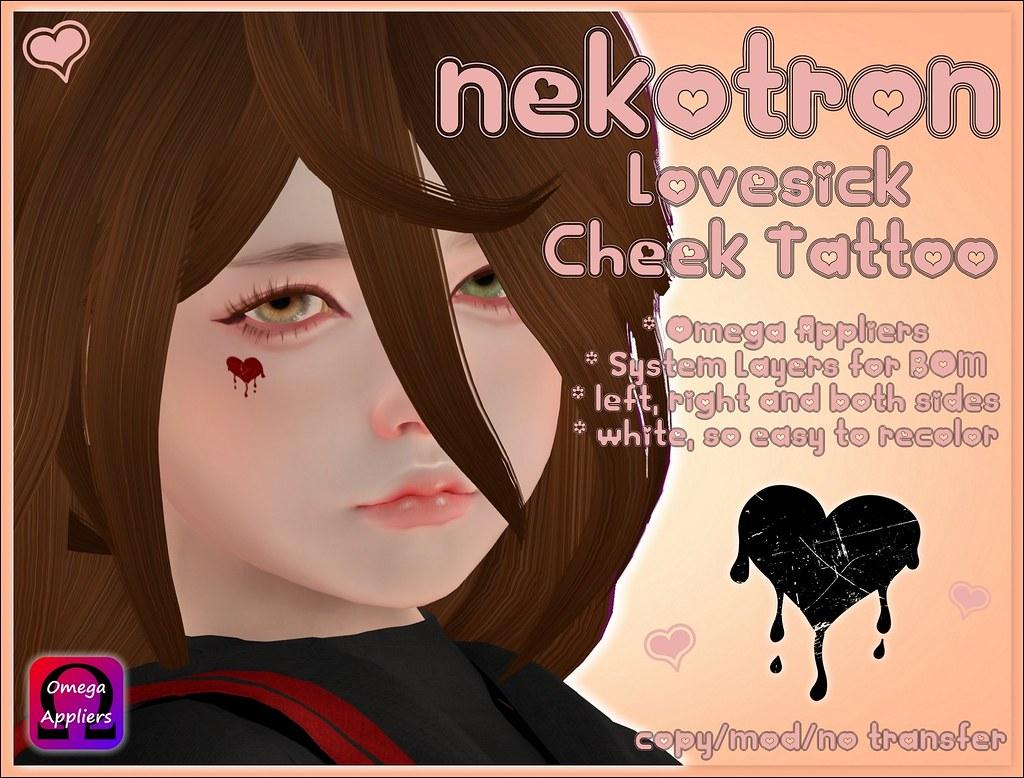 [Nekotron] Lovesick Cheek Tattoos (Omega + System Layers)