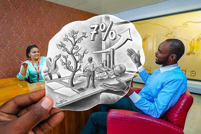 Pencil Vs Camera - Compte a 7% de Croissance - Trust Merchant Bank - Banque TMB - Kinshasa, Republique Democratique du Congo - Ben Heine Art