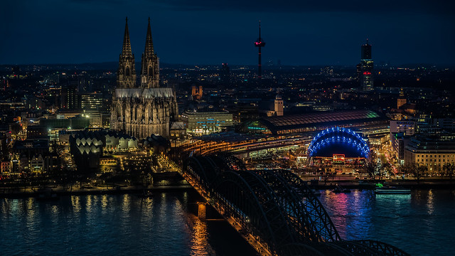 Cologne evening cityscape
