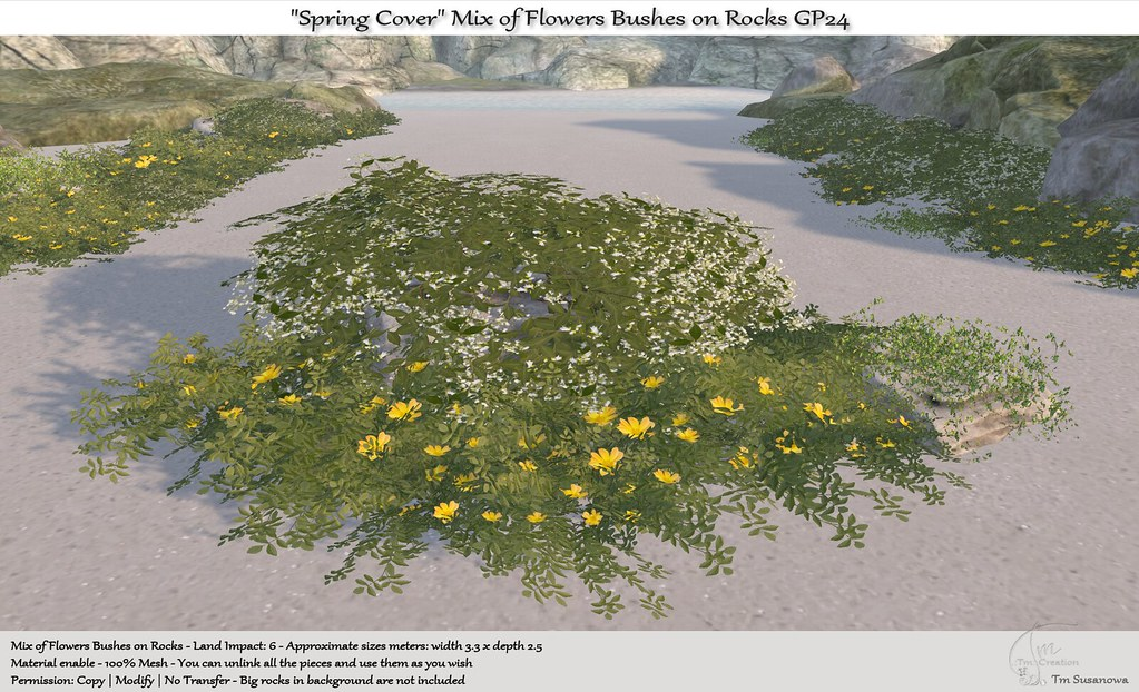 ".:Tm:.Creation ""Spring Cover"" Mix of Flowers Bushes on Rocks GP24"