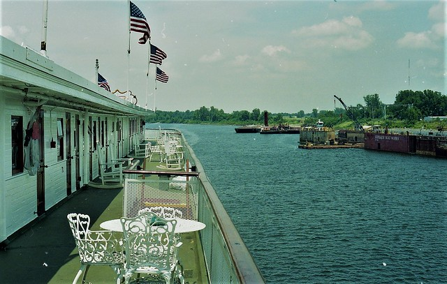 2003, Superior Boatworks at Greenville Mississippi as seen from the top deck of the Delta Queen running upriver.