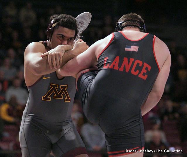 Hwt: #1 Gable Steveson (Minnesota) maj. dec. Christian Lance (Nebraska) 19-7. 200222AMK0108