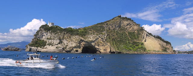 Capo Miseno looking over the mussel beds in the approaches to Porto Miseno