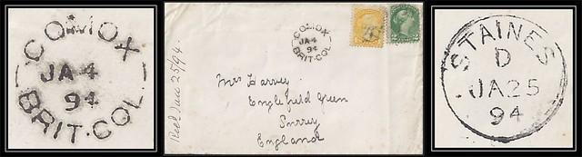 British Columbia / B.C. Postal History - 4 / 25 January 1894 - COMOX, B.C. (split ring / broken circle cancel / postmark) to Englefield Green, Surrey, England via Staines, England