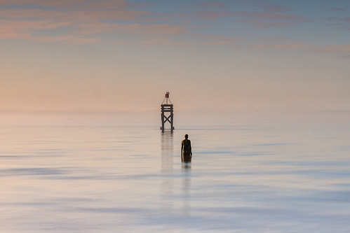 anotherplace antonygormley merseyside england unitedkingdom rivermersey sunrise