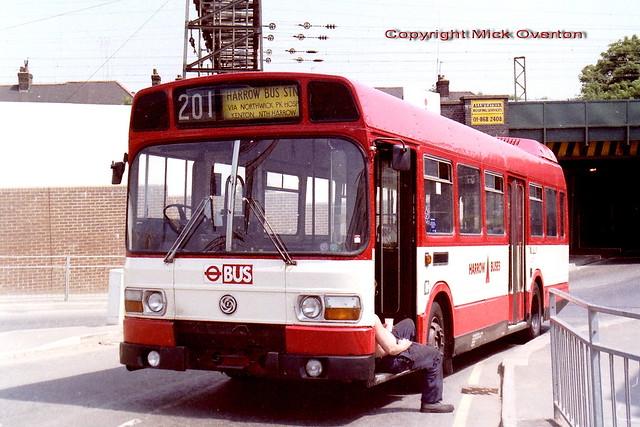 1978 Leyland National LS253 THX253S broken down just after passing Wealdstone low bridge