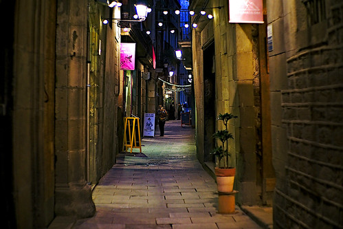 city street road alley calle carrer building architecture column wall door balcony balconies plant nature naturaleza color colour people gente barcelona barcellona night nightview nightshot outside outdoor