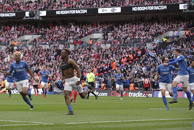 Jamal Lowe celebrates goal at Wembly Stadium