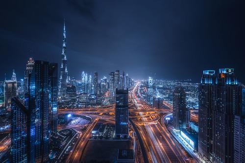 dubai uae emirates cityscape burjkhalifa nightscape urban sony skyline