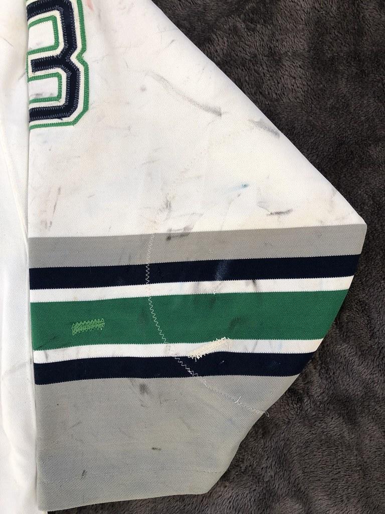 1993-94 Zarley Zalapski Hartford Whalers Home Set 1 Game Worn Jersey Left Sleeve Back