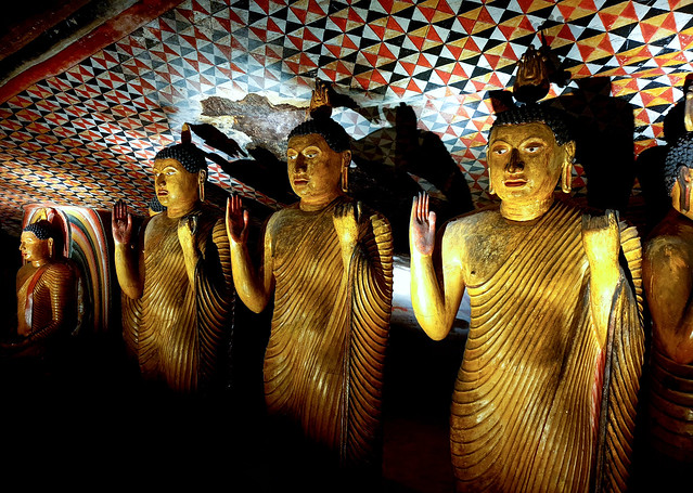 Buddhas in the cave temple complex of Dambulla, Sri Lanka