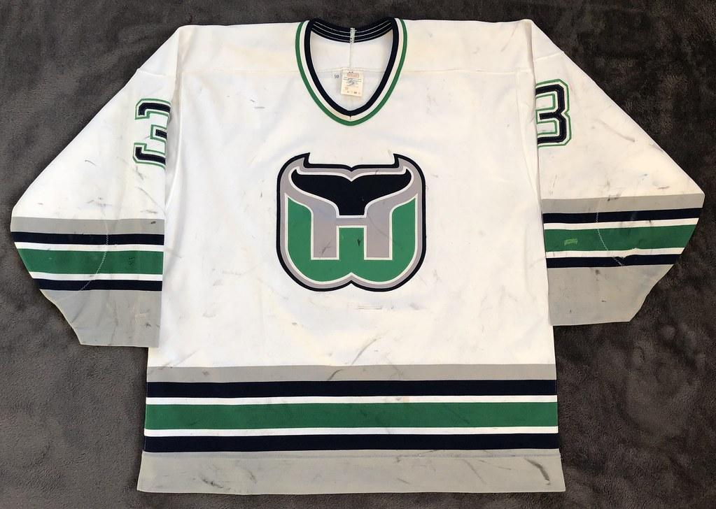 1993-94 Zarley Zalapski Hartford Whalers Home Set 1 Game Worn Jersey Front