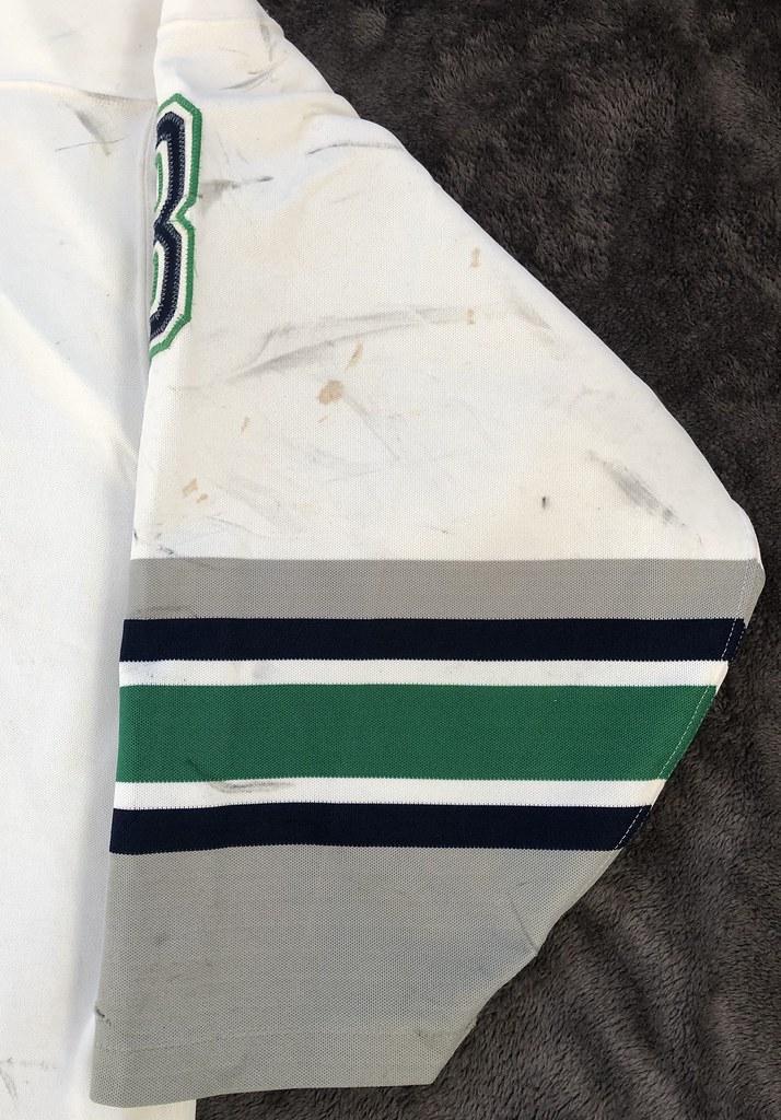 1993-94 Zarley Zalapski Hartford Whalers Home Set 1 Game Worn Jersey Right Sleeve Front