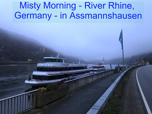 River Rhine - Trip with Ship on a misty Day with less water - with the Organisation NABU, protecting birds in Germany - This area is know for many birds in the midst of the River and along the River
