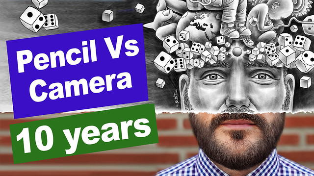 Video: Creative Pencil Vs Camera artworks mixing drawing and photography (200 before/after and 10 years !)