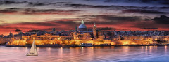 City Of Valletta At Sunrise urban landscape in Malta