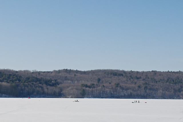 Ice Fishermen Out On The Lake