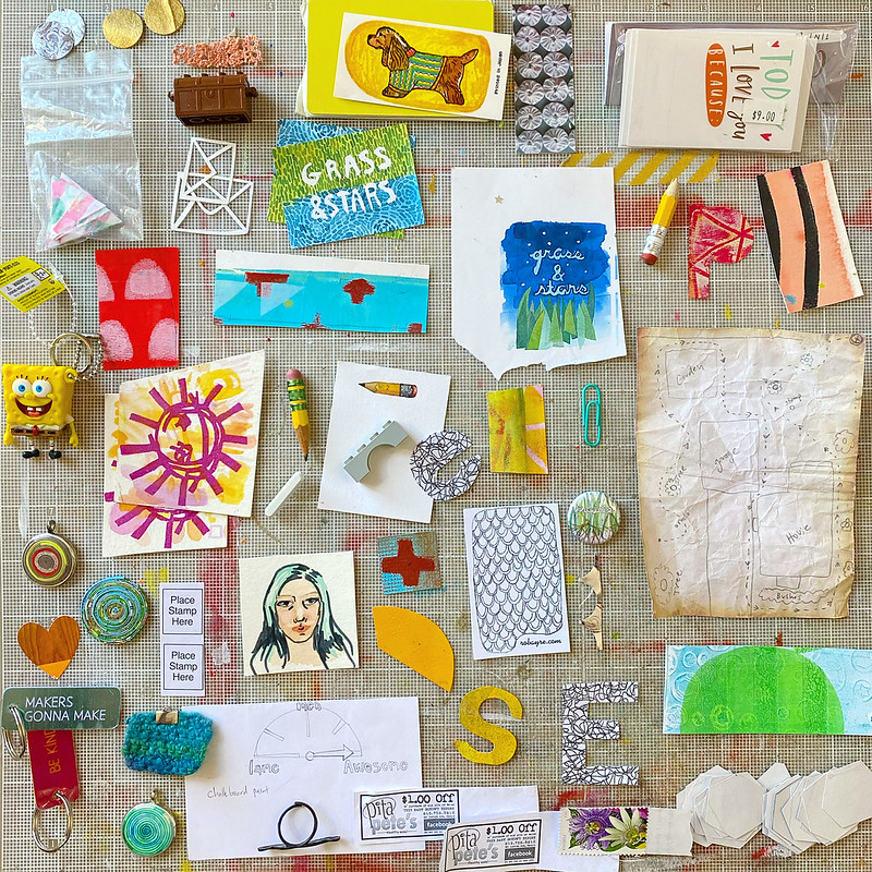 Things organized neatly - random junk from my work table edition