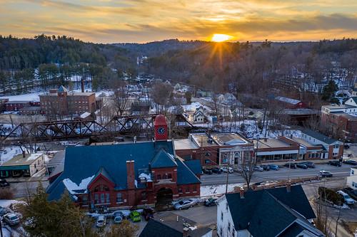 dji mavic2pro newengland newhampshire sethjdeweyphotography wilton aerial drone evening winter