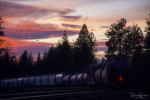sunset dusk pink purple orange yellow silhouette rail railroad train freighttrain cargo bnsf bnsfrailroad bnsfrailway burlingtonnorthernsantafe burlingtonnorthernsantaferailroad uprosevillesubdivision goldrunca placercounty goldcountry sierranevada sierrafoothills northerncalifornia california