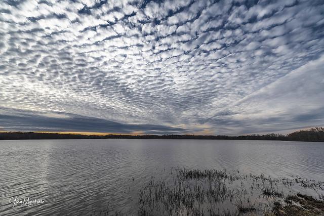 Mackerel clouds over Lake BK