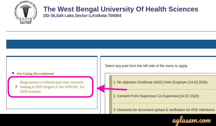 WBUHS Ph.D. Admission Application form 2020