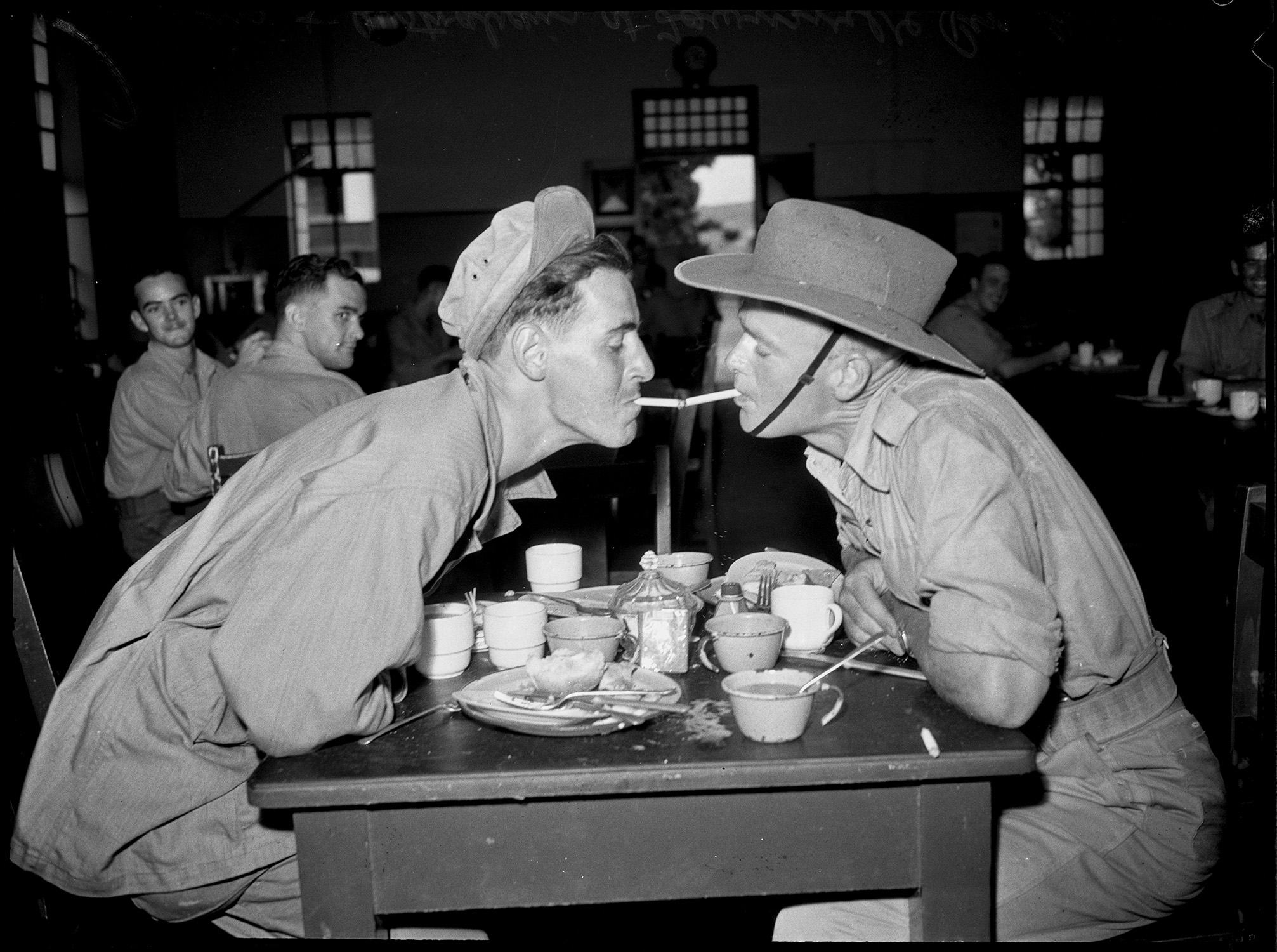 American and Australian soldiers at Townsville, 21 February 1944, photographed by N. Herfort