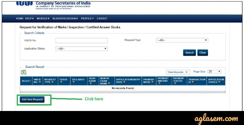 CS Professional verification of marks fee payment
