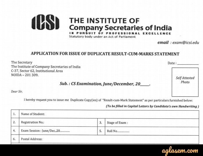 CS Professional 2019 Duplicate Result-cum-Marks Statement Application