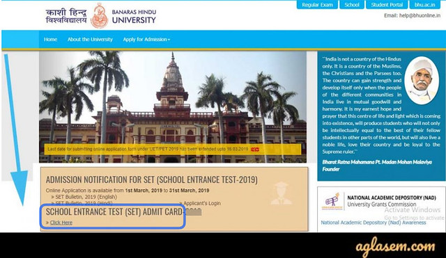 BHU SET Admit Card 2020