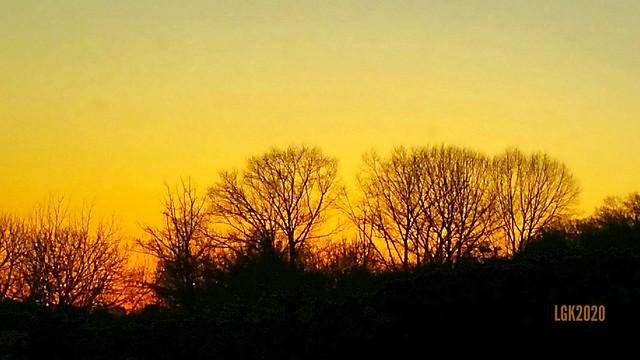 Sunset along US 22 near Nazareth, Pennsylvania