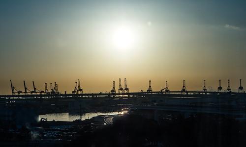 横浜 横浜港 morning sunrise 本牧埠頭 yokohamaport yokohama