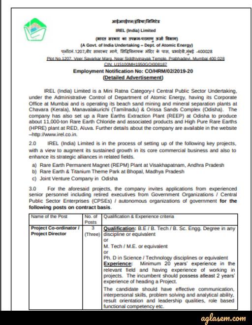 IREL Project Coordinator/Director Recruitment 2020 Notification