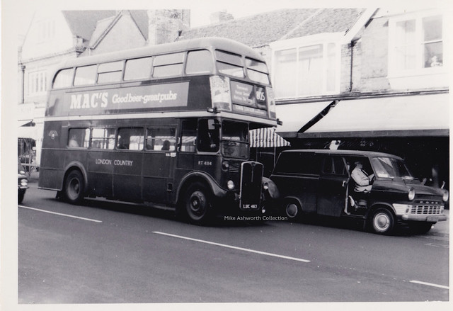 London Country Buses RT 4114 on route 805, Epping High Street, Essex, 1972
