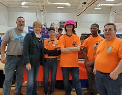 Rep. Zawistowski visited with members of Windsor's Blazing Spirits  FIRST Tech Challenge team before the State Competition at Windsor High School. 24 middle school level robotics teams competed in a Star Wars themed project to build a superstructure of the future.