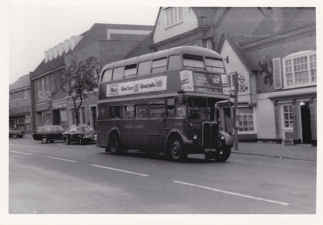 London Country Buses RT 3816 on route 807, Epping High Street, Essex, c1972