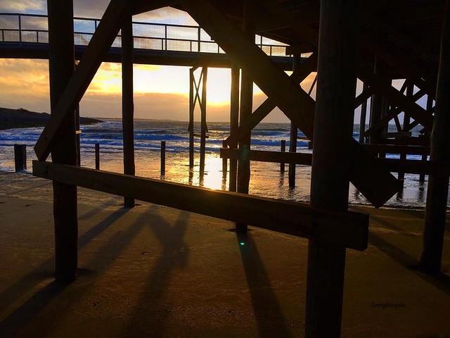 Sunset over the northsea, taken under the restaurant on the beach in Krabbendijke, Netherlands