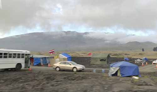Protesters camped by the road. From History Comes Alive at Hawai'i Volcanoes National Park