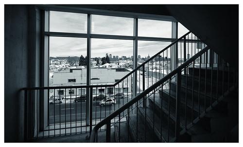 edmonton canada kanada alberta downtown stairs staircase parkade city horizon fujifilm xh1 laowa wideangle venuslens lens manual bw skyline urban architecture