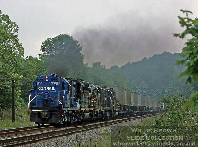Alco RS11 7644 leading a van train at Redington, PA on May 21st. 1977.
