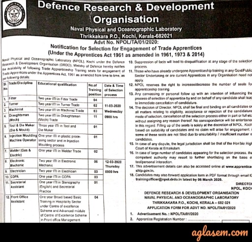 DRDO Apprentice Recruitment 2020: 41 Vacancies - Notification, Last Date, Apply Here